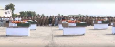Funeral prayer of 7 soldiers martyred in North Waziristan offered