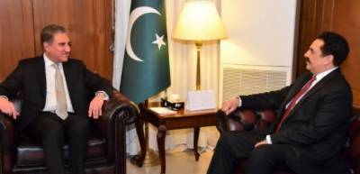 Raheel Sharif calls on Sadiq Sanjrani, Shah Mahmood Qureshi